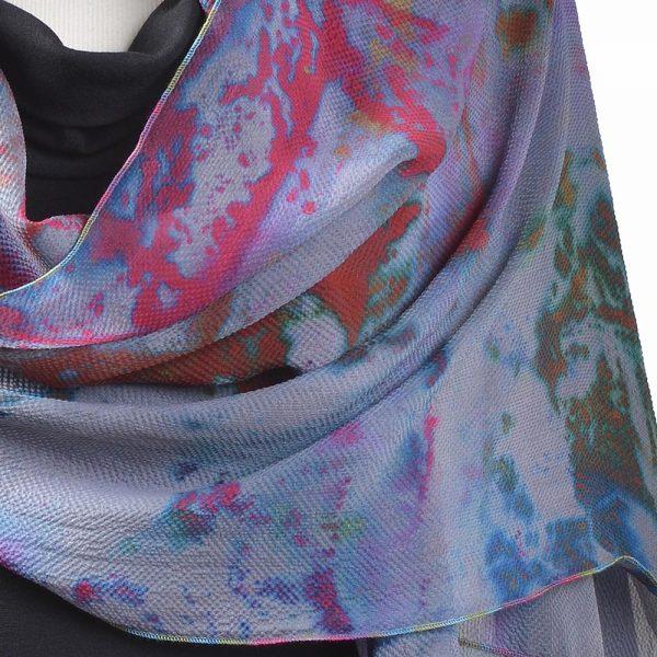 detail of hand dyed scarf, folk art center, north carolina fiber art