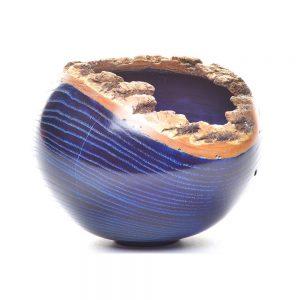 dark blue ash bark edge bowl, turned organic wood bowl, american woodturner, wood artist, tn wood, folk art center