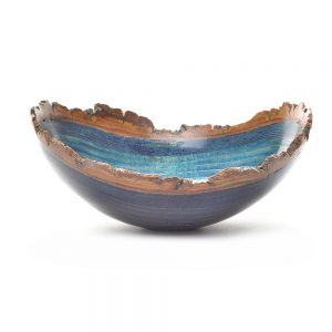blue dyed natural edge bowl, centerpiece, mountain home decor, tn woodworker,