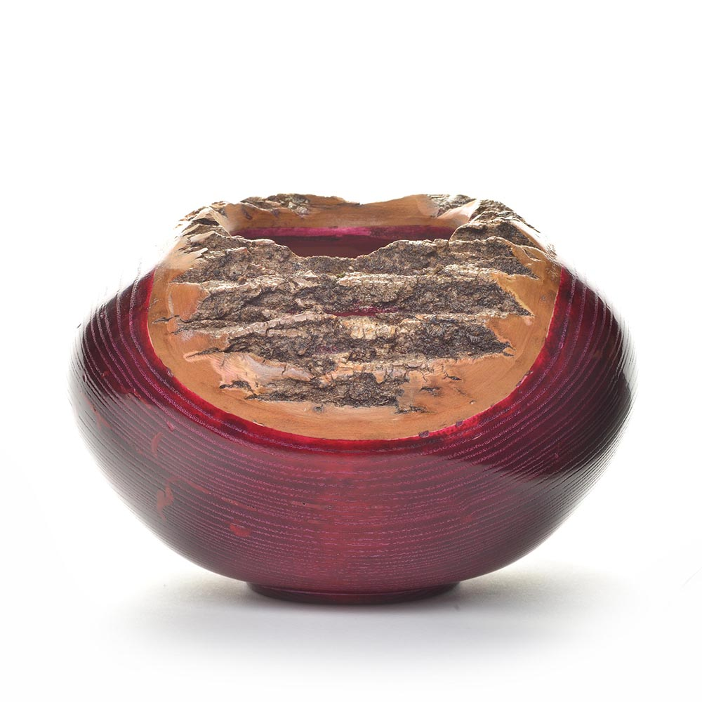 red turned ash bowl with bark around rim, deep red glossy turned bowl, tennessee woodturner, mountain home decor