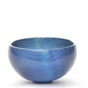 blue round bowl, turned ash wood blue bowl, contemporary wood sculpture, folk art center