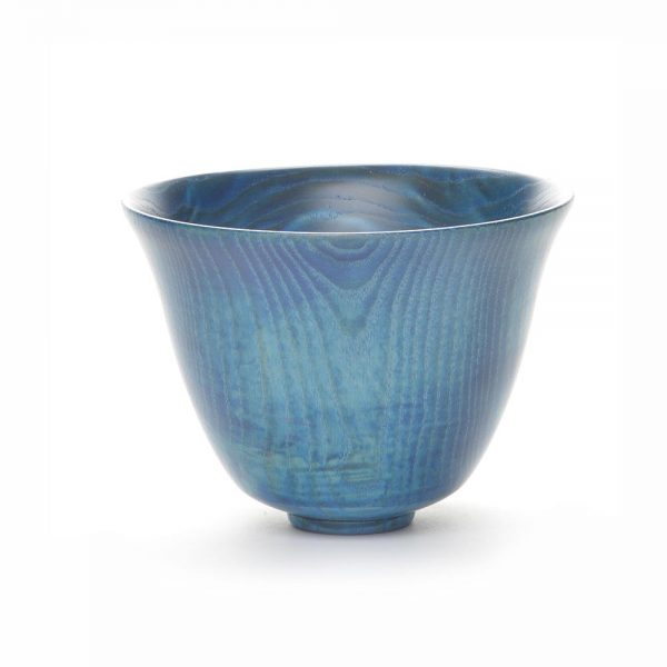 blue ash bowl, stained turquoise tall bowl, tennessee woodworker,