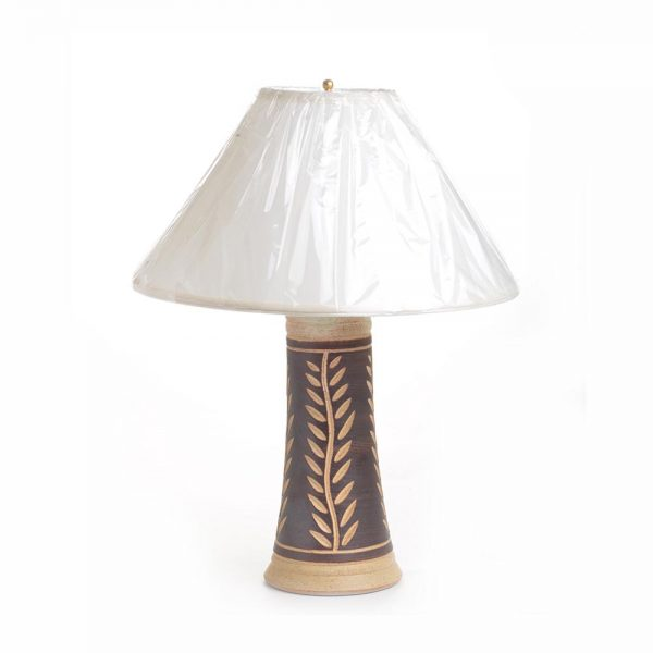 brown carved ceramic lamp, one of a kind lamp, mountain home decor, sc pottery lamp