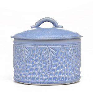 blue carved ceramic jar with carved leaf design, ceramic pottery potluck, compost container,