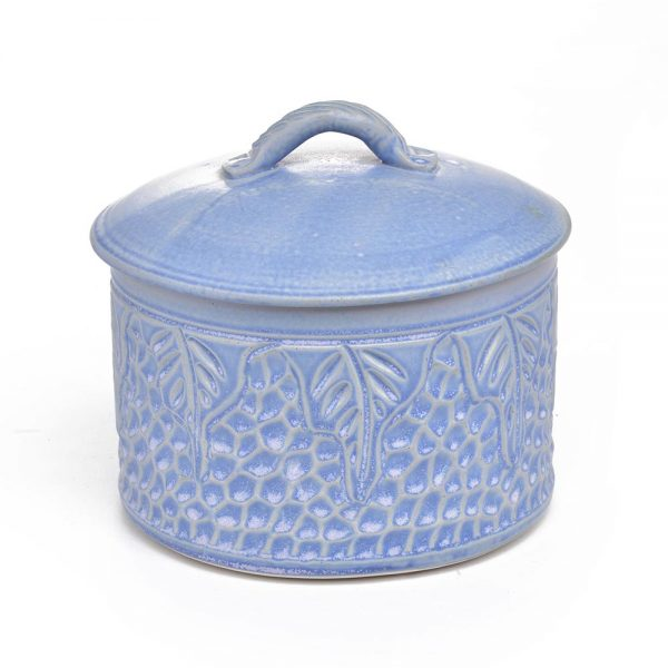 carved blue handmade ceramic