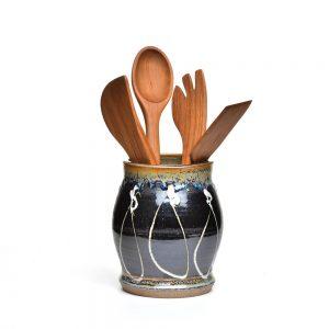 large black utensil holder with white slip trailed marks, handmade clay vase, handmade utensils holder
