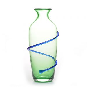 green and blue handmade glass vase, wv glass blowing, tamarack