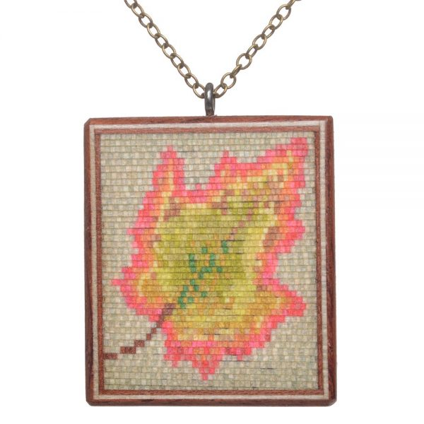 intricate wooden fall leaf necklace, buzz coren necklace, featherwood jewelry, nc woodworker