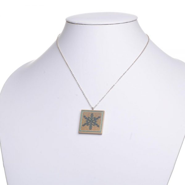 wooden snowflake necklace