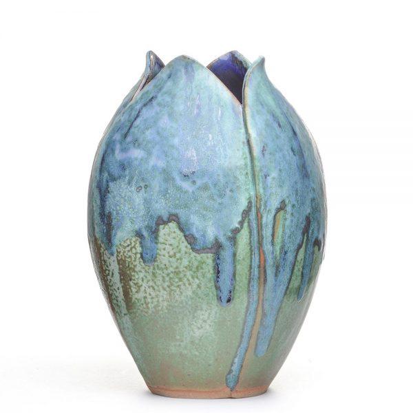 large ceramic blue and green vase, tulip type vase