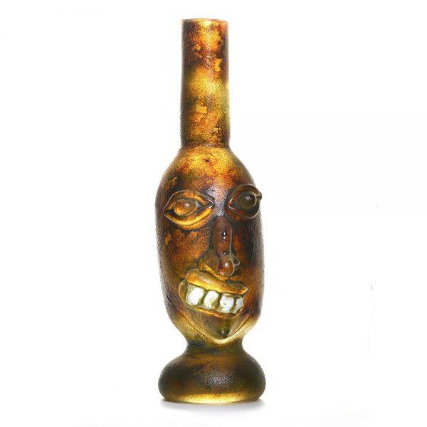 sculptural glass face jug, appalachian face jug, traditional face jug, wnc face jug, NC glass blowing, asheville glass artist, glass blower