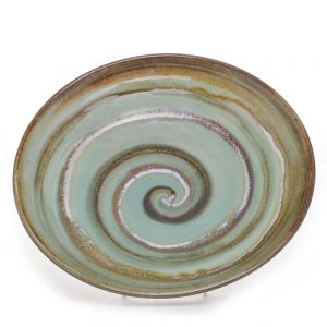 spiral low shallow bowl, nc pottery, folk art center