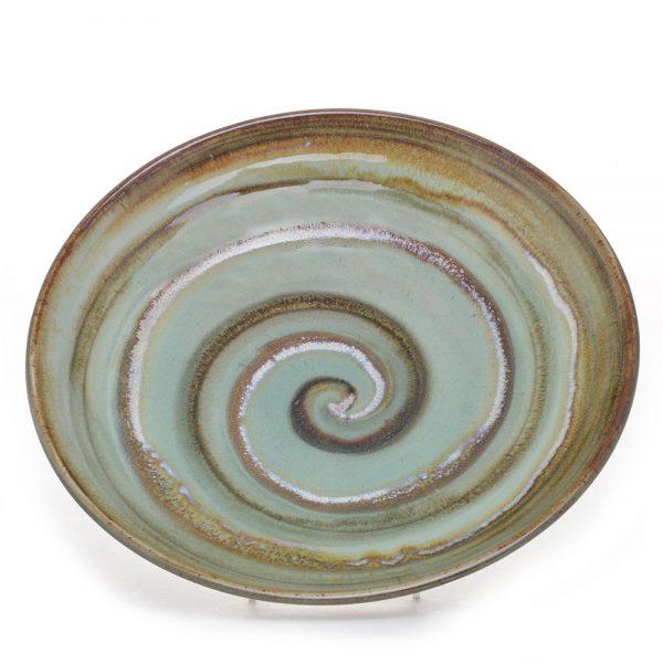 spiral low shallow bowl, nc pottery, folk art center