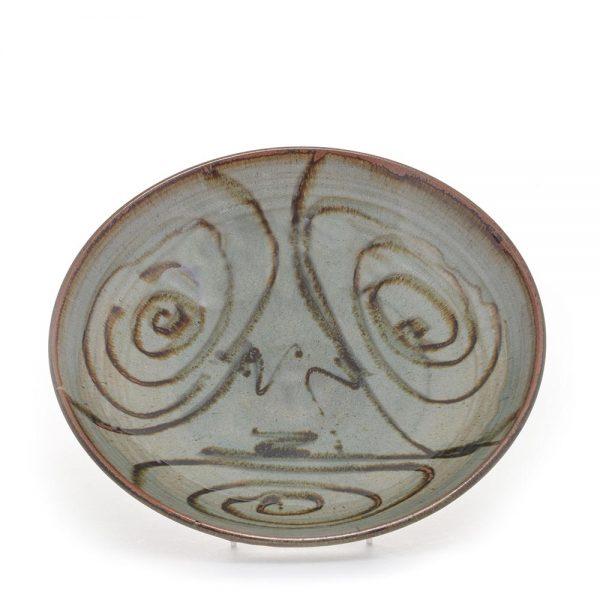 spiral shallow bowl, handmade ceramic serving bowl