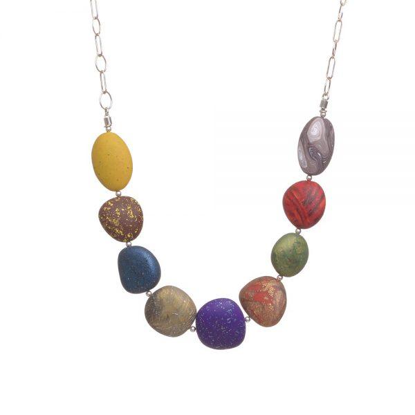 colorful polymer rock necklace, handmade polymer jewelry, folk art center, biltmore village jewelry