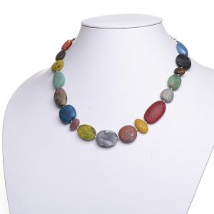 rainbow polymer stone necklace, statement necklace, nc polymer jeweler