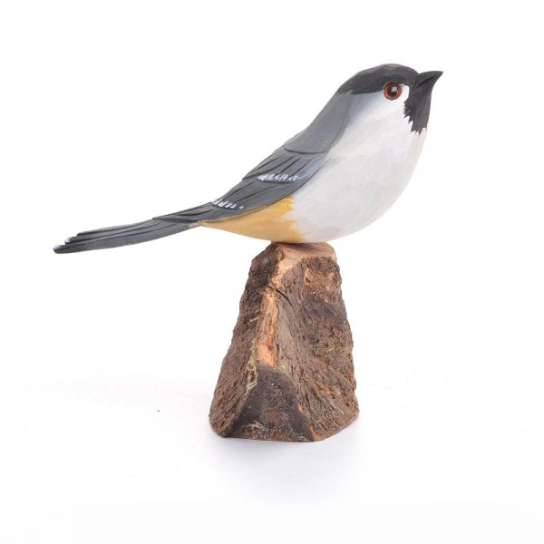 carved nc bird, black capped chickadee, carved and painted bird