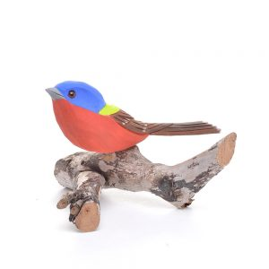 indigo bunting carving, colorful bird carving, nc bird carver