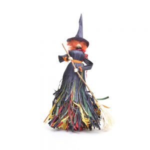 standing corn shuck witch with broom, large corn shuck witch, traditional fall decor