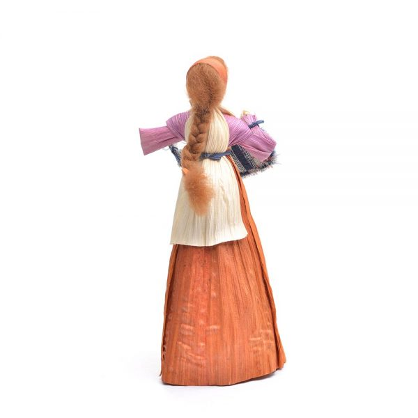 orange corn shuck weaver doll, traditional craft