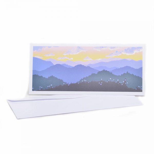 mountain sunset card, handmade print card, appalachian sunset