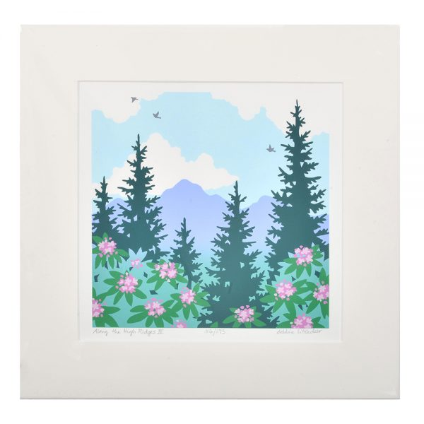 mountain and rhododendron print, mountain home decor, colorful Appalachian scene