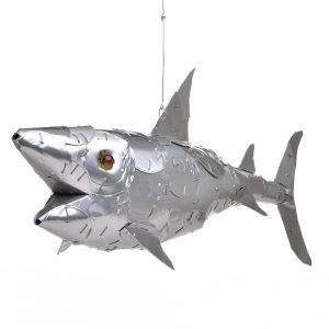 mixed media shark sculpture made with cat food lids