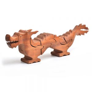 chinese dragon handmade wooden puzzle, folk art center puzzle