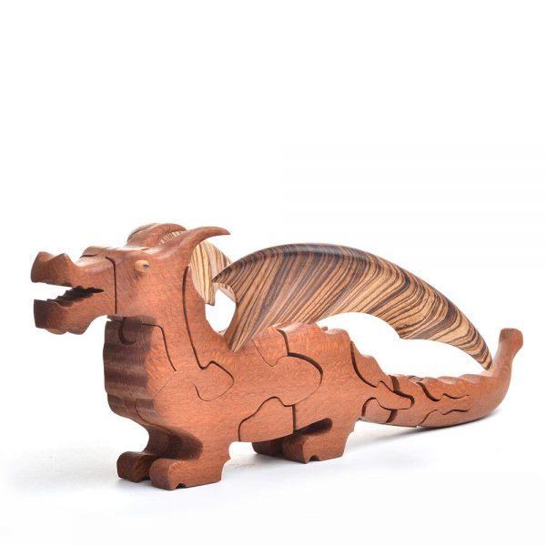 large wooden dragon puzzle, handmade wooden puzzle, folk art center puzzle