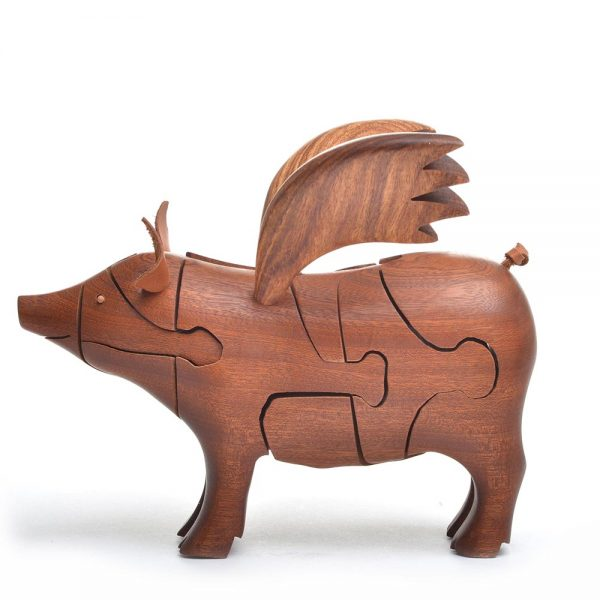 wooden handmade flying pig puzzle