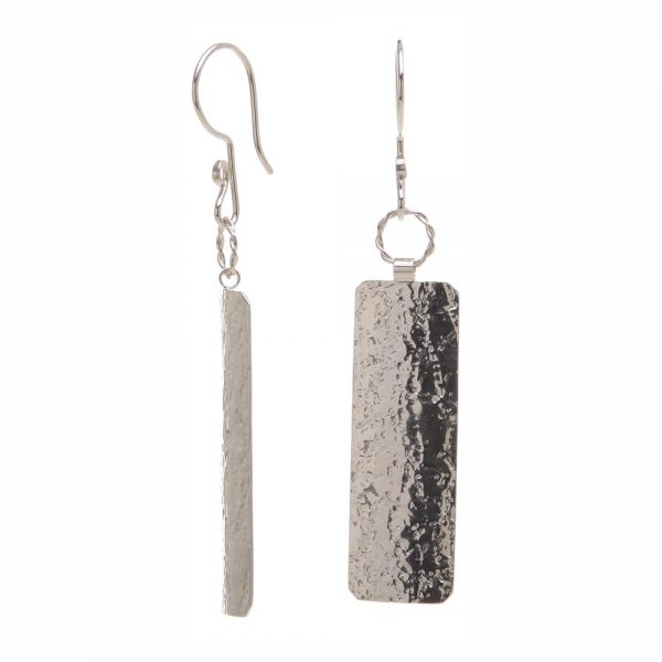 side view of textured silver earrings, shiny silver earrings, textured silver, nc jeweler