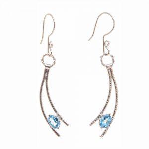 polished silver and gemstone earrings, handmade gem earrings, birthstone earrings, elegant handmade earrings