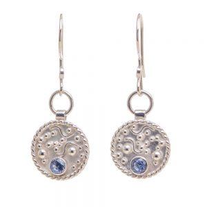 silver earrings with aquamarine stone, delicate handmade earrings
