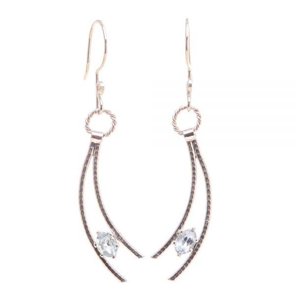 aquamarine earrings, handmade elegant earrings, gemstone handmade jewelry