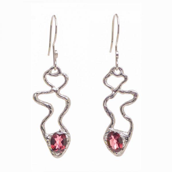 lost wax cast earrings, garnet and silver handmade earrings one-of-a-kind earrings, organic shape earrings,