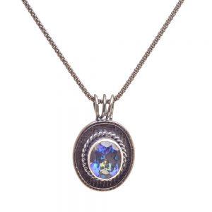 hippy necklace, mystic topaz, handmade oxidized gem necklace, weaverville jeweler