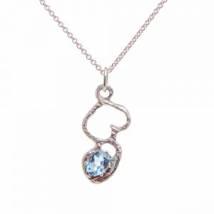 blue topaz handmade necklace, joe rhodes, weaverville nc jeweler, mica gallery