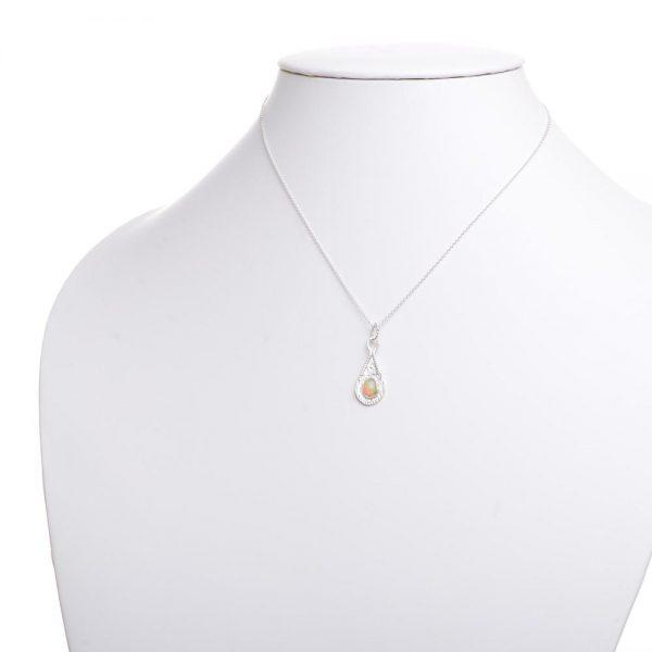 fire opal necklace, joe rhodes, weaverville jewelry
