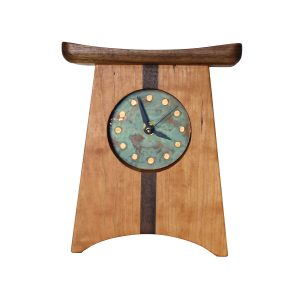 wooden verde clock, handmade made mantle clock, gift for office, mountain home decor