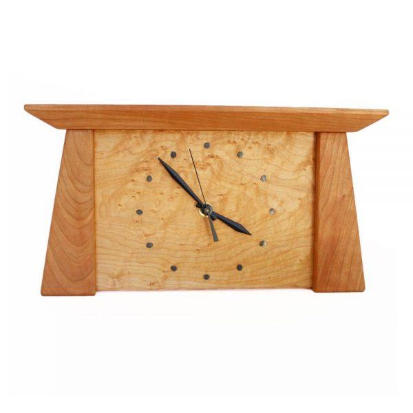 wide wood mantel clock, handmade wood clock, nc clockmaker, nc woodworker