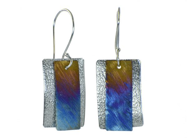 rectangle blue and pink silver earrings, affordable handmade shiny earrings, flame patina