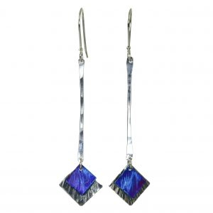 long affordable handmade earrings, torch patina, titanium and argentium silver earrings