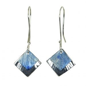 blue silver and titanium earrings, flame torch patina, titanium patina earrings, nc jeweler