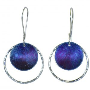 silver and blue earrings, titanium and artentium silver earrings, torch patina
