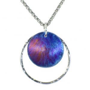 colorful round necklace, circle necklace, colorful disk with torch patina