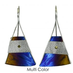 large triangle earrings, silver and color earrings, flame torch patina, nc jeweler, handmade titanium earrings