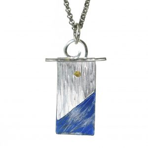argentium and titanium handmade necklace, flame patina, blue and silver necklace