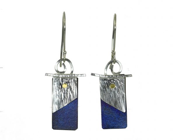 affordable handmade blue and silver rectangle earrings, nc jeweler, clyde nc jewelry, folk art center