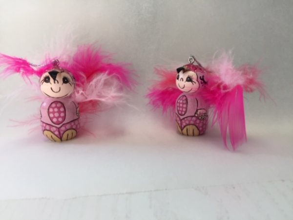 flamingo babies, flamingo ornaments, good luck charm, handmade talisman