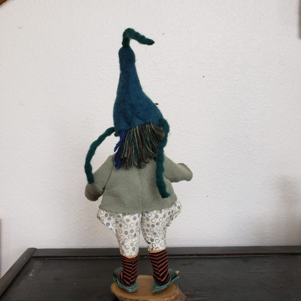 back view of handmade gnome doll